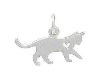 Cat Charm, Kitten Charm, Sterling Cat Charm, Cat, Kitten, Charm, Silver Cat Charm, Cat Pendant, Cat Jewelry, Cat Necklace, Pet Charm, Silver