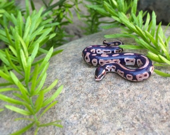 Normal Ball Python Figurine, Royal Python decal, OOAK Polymer Clay Snake Figure, Ball Python Pin, Realistic Snake Accessory, Snake Ornament
