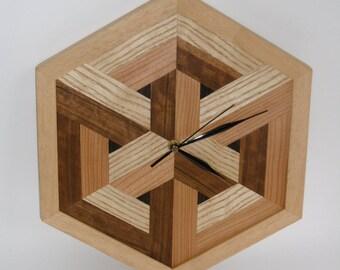 Wood Veneer Wall Clock, Wood Wall Clock, Hexagonal Clock, Unique Wall Clock ,Handmade Clock, Marquetry Clock, Handmade Hexagonal Frame,