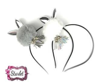 Bunny Pom Pom Headband, PICK ONE, Hair Accessories, Girl's Headband, Pom Pom Ears