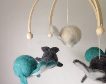 Whale Mobile, ocean mobile, under the sea mobile, whale, nautical mobile, love Lilah baby