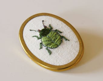 Hand Embroidered Green Leaf Beetle Brooch Entomology Natural History Jewelry Wildlife Nature Lover Art