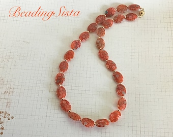 Flower - Orange - Glass Beaded - Necklace