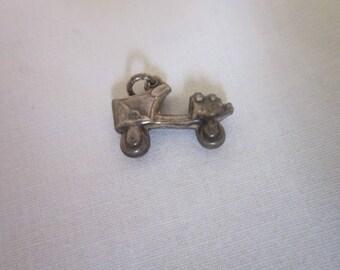 Antique Sterling Silver Roller Skate Charm Bracelet Charm