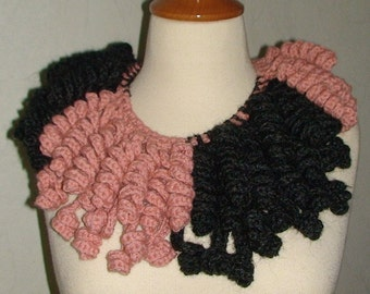 Neck Warmer/ Cowl Salmon Pink/ Charcoal Grey Spiralled CLEARANCE Sale