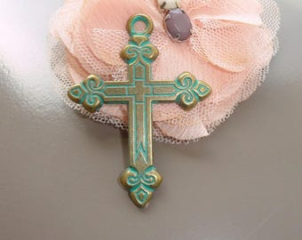 large, ornate bronze cross gold and patina antique 56mm