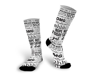 Funny Socks, Adulting, Nap Queen, Custom Socks, Socks, Personalized Socks, Picture Socks, Photo Gift, Custom Photo Socks --62178-SOX1-603
