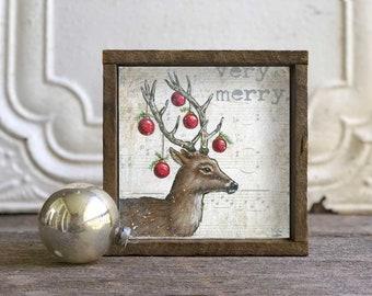 Farmhouse Christmas Sign, Christmas Deer, Seasonal Decor, Christmas Reindeer, Holiday Decor, Christmas Decorating, Christmas Decor, Reindeer