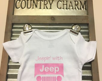 Jeepin' with my Mommy - Baby Bodysuit - Infant Bodysuit - Great baby shower gift! Note: Wording can be changed!
