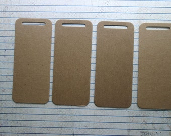 """4 bare chipboard die cuts rounded corner slit hole tags 1 3/4x4"""""""