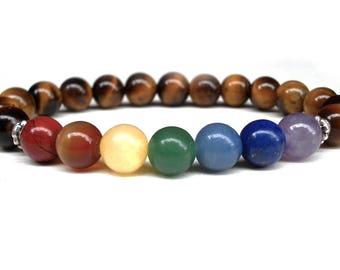Tiger's Eye Seven Chakra bracelet, Yoga bracelet, Tiger Eye bracelet, Chakra bracelet, 7 Chakra bracelet, Gemstone bracelet, Meditation Yoga
