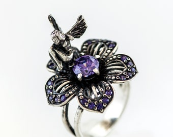 Silver Ring, Jewelry ring, Jewelry, Ring, fairy,  Mythical, handmade, fairy ring, flower, flower ring, fantasy, gift for her, Magic,