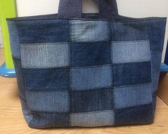 A patchwork denim tote bag