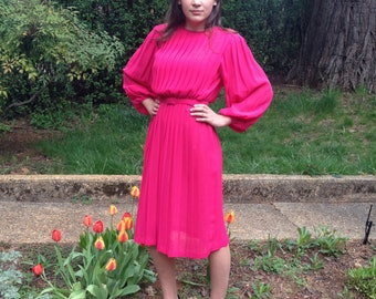 Vintage 80's Puffy Sleeve Knife Pleat Hot Pink Polyester Midi Dress Small Medium