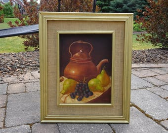 Mid Century Impressionist Still Life Oil Painting on board signed by artist Jaelria
