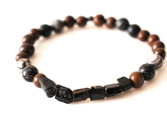 Rustic Raw Black Tourmaline and Jasper Bracelet // Healing Meditation Mala Beads for Protection and Grounding E260