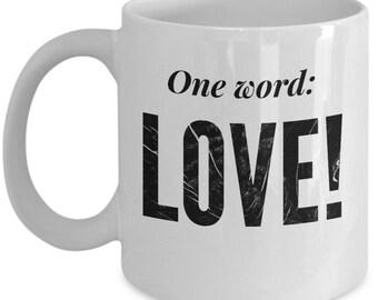 one word love mugs
