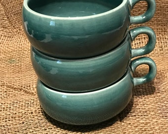 Russel Wright Seafoam Green American Modern Three Coffee Cups Stackable Mfg. by Steubenville Pottery USA Vintage Mid Century Modern 1950's