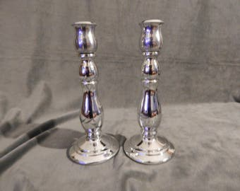 Vintage Avon Silvertone Candle Sticks pair of 2