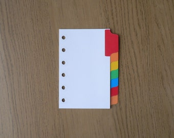Filofax Pocket Organiser Dividers with 7 Multicoloured Mylar Tabs