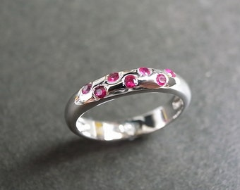 Ruby Ring in 14K White Gold, Ruby Engagement Ring, Ruby Jewelry, Ruby Anniversary, Wedding Band, Wedding Ring, Rings, Red Gemstone Jewellery