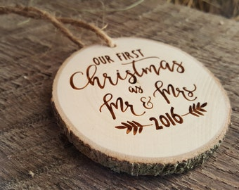Mr and Mrs Christmas Ornament - Our First Christmas Ornament - Wood Slice Ornament - Christmas Ornament