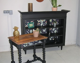 black side table and wood
