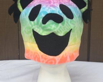 Grateful Dead Inspired Dancing Bear Fleece Hat TieDye Adult Size M/L