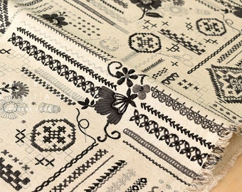 Japanese Fabric Yuwa Embroidery Sampler canvas - black, grey, natural - fat quarter