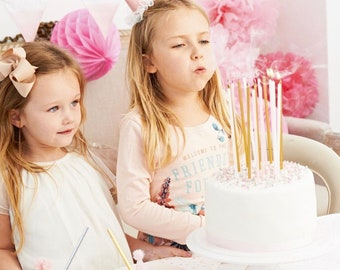 Birthday Candles Gold Metallic and Pink || Tall Birthday Candles 9"