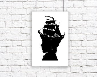 The Captain's Wife Large Nautical Silhouette Print Pirate Ship Black and White Beach House Decor