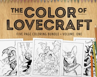 Adult Coloring Bundle - The Color of Lovecraft, Vol:1 - Five coloring pages inspired by the Cthulhu Mythos - download and print (PDF)