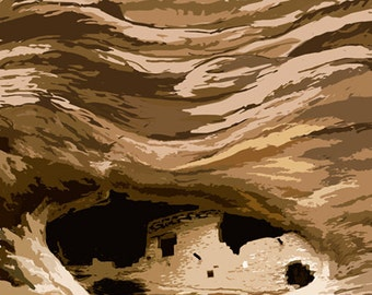 Gila Cliff Dwellings National Monument, New Mexico (Art Prints available in multiple sizes)