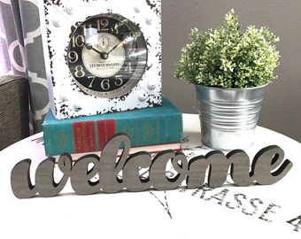 Welcome Wood Word Cutout, Laser Cut Word, Welcome Wood Sign, Stand on a Shelf Welcome
