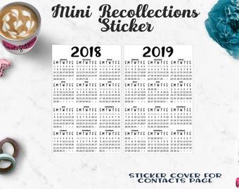 Mini Recollections 2018/2019 Planner Sticker