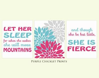 And Though She Be But Little She is Fierce Let Her Sleep Pink Aqua Gray Flowers Decor Nursery Art Print 8x10 Wall art Prints 174(ab)