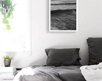 Deep Black Sea PRINTABLE | Black and white Poster | Ocean photography art print | Surfer Beach Print | Modern Decor printable wall art