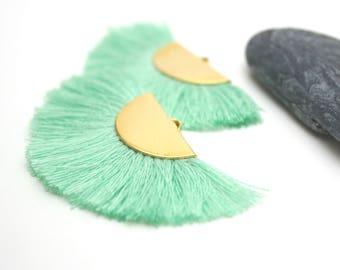 2 Large Tassels, Fan Shape Tassel, Black Tassel, Jewelry Making, Gold Tassel, Earrings Tassel