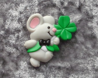 1980's Gibson Greetings Mouse With Shamrock Plastic Brooch