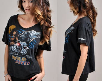 "Awesome vintage ""wild breed"" biker tee!              H4"