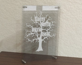 Crystal Clear Personalized Paper Cut Family Tree