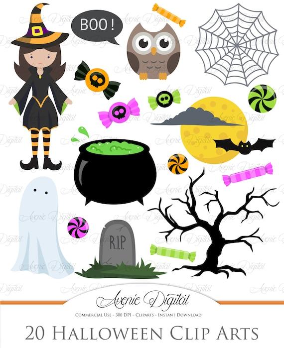 cute halloween clipart scrapbooking printables holiday set rh etsy com Halloween Party Clip Art Halloween Frame Clip Art