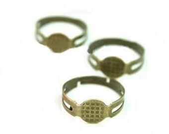 10 x ANTIQUE BRONZE Adjustable ring blank