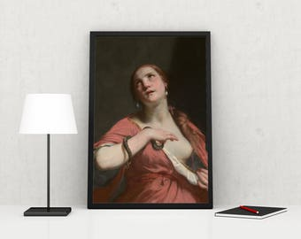 The Death of Cleopatra - High Quality print made with Gloss Photo Paper - Original of Guido Cagnacci - Oil on Canvas - 1645 to 1655