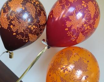 "11"" Fancy Leaves Balloons: Fall, Thanksgiving, Harvest, Holiday, Wedding, Shower, Birthday, Baby, Halloween, Wine, Pumpkin, Classy, Grape"