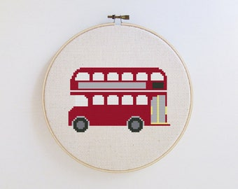 London Double Decker Bus - double decker bus cross stitch pattern - PDF - Instant download