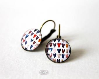 Cabochon 14 mm heart earrings