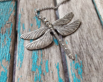 Dragonfly Statement Necklace- Large Antique Silver Dragonfly Pendant, Rustic Pendant, on your choice of chain