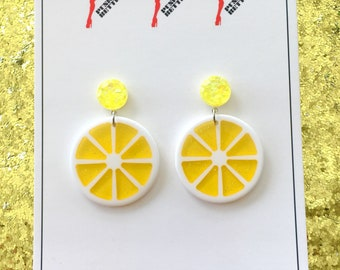 Fruitti Tutti Earrings - Lemon Drop Yellow - Pinup Girl - Retro - Vintage Style - 1950s