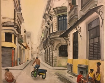 oil painting on canvas-street scene in Havana Cuba